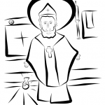 Sample Colouring Page for Saint of the Day App for Kids